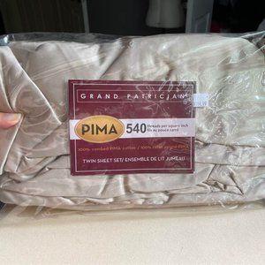 Twin 100% Pima Cotton Bed Sheet Set - 540TC, BNIP